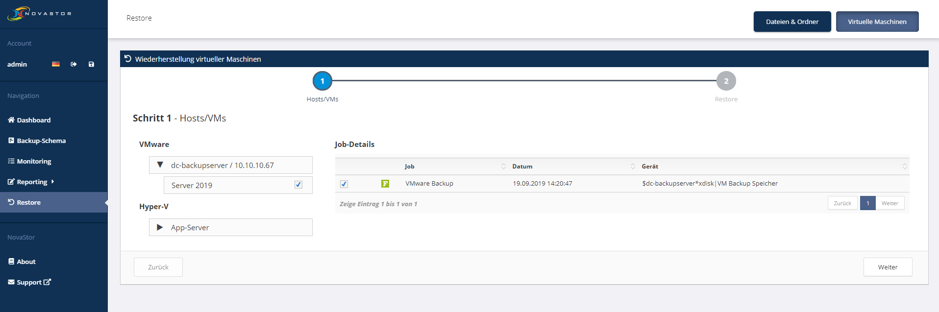 NovaStor DataCenter - VM Restore #1