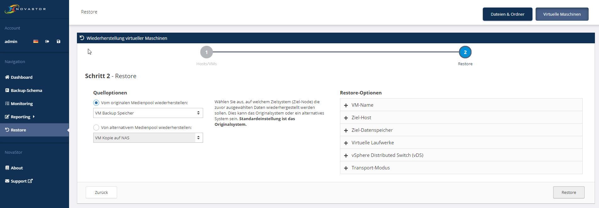 NovaStor DataCenter - VM Restore #2